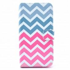 Samsung Galaxy S6 Edge kožený obal Blue Pink Wave