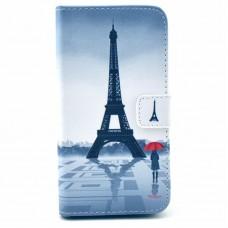 LG G3S kožený obal Girl Eiffel Tower