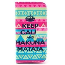Samsung Galaxy S5 kožený obal Keep Calm Matata - SKLADEM