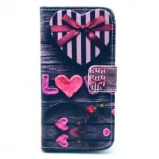 Pouzdro HTC Desire 500 kožené Love Heart