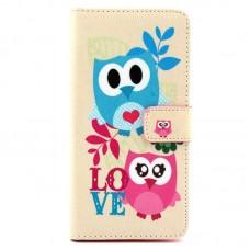 Sony Xperia M2 kožený obal Love Owls