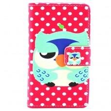 Microsoft Lumia 435 kožený obal Color Owl