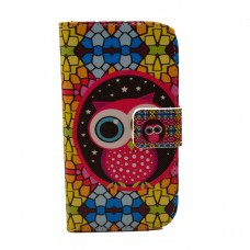 Samsung Galaxy Core kožený obal Colorful Owl - SKLADEM