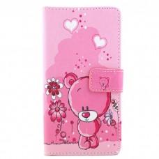 iPhone 7 kožený obal Pink Bear