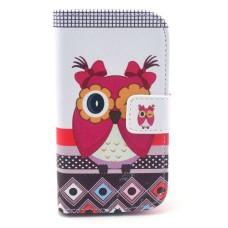 Pouzdro iPhone 4/ 4S kožené Pink Owl - SKLADEM