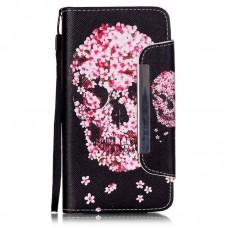 Samsung Galaxy i9060 kožený obal Skull Flower