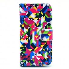 Pouzdro HTC Desire 500 kožené Colorful Puzzle