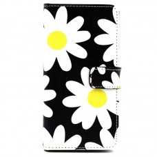 Asus Zenfone 2 kožený obal Black Flower