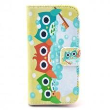 Motorola Moto E kožený obal Three owls