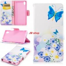 Sony Xperia XZS kožený obal Flying Blue Butterflies